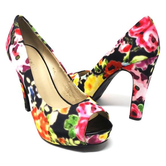 Shoes | Nine West Floral Peep Toe Heels